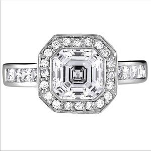 Jewelry - 2 ct Asscher Cut Bezel Set Art Deco Halo Ring sz 6